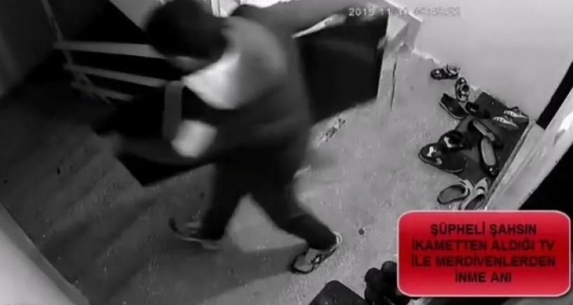 Evden Televizyon Çalan Hırsızı Yakalanarak Tutuklandı
