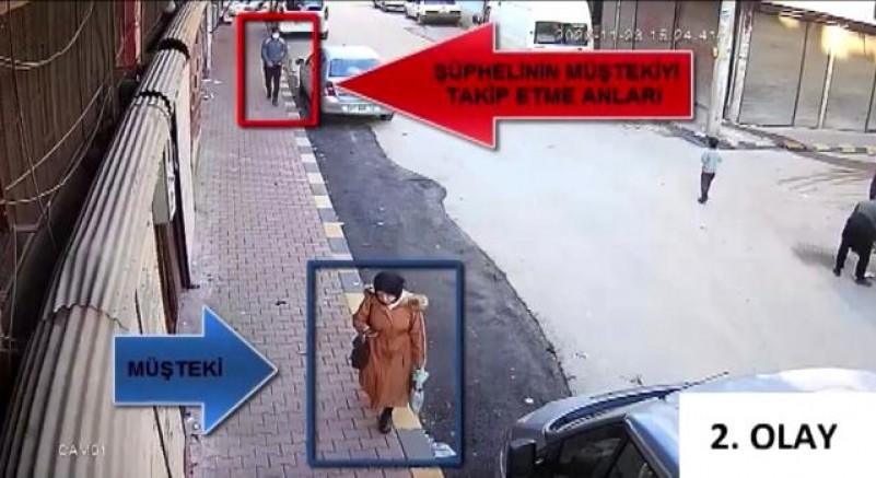 Kapkaççı önce güvenlik kameralarına sonra polise yakalandı